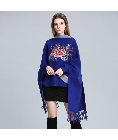 Knitted tassel Tassel Cloak Sweater women autumn winter multiple Colour Cardigan Lantern Sleeve famale jumpers tops - BLUE G...