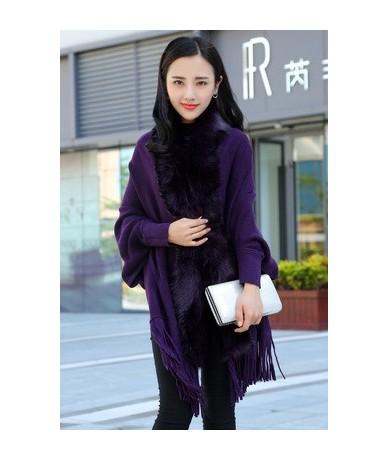 Fashion New Spring Women Faux Fur Collar Cape Shawl Cardigan Gray Women Tassel Knit Cardigan Sweater Poncho - purple - 49394...