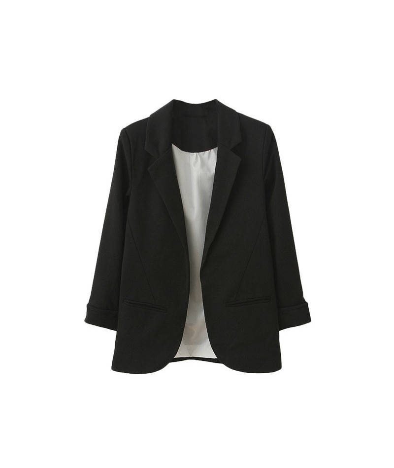 2019 Fashion Women Blazer Coat Casual Business Style Nine -quart Sleeve Blazer Slim Jacket Outwear Slim Solid Blazer Coat - ...