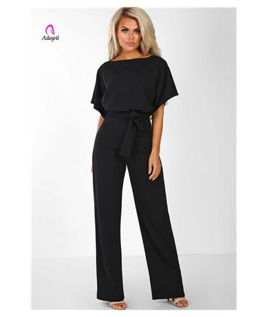 Elegant Lady Highstreet Rolled Up Sleeve Knot Front Solid Jumpsuit Women Summer High Waist Casual Straight Jumpsuit Long Rom...