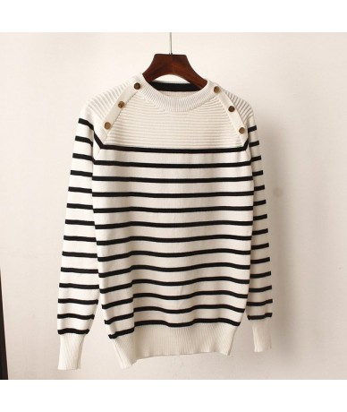 Fashion Striped Autumn Winter Pullover Women Sweater O-Neck Knitted Jumper Top Long Sleeves Female Sweater - white Long Slee...