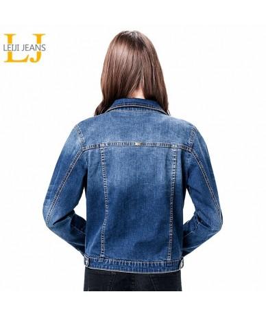 2019 Women Plus Size 6XL long basical jeans jacket coat Bleach Full Sleeves Single Breast Slim Women Denim Jacket - Dark blu...