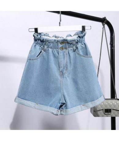Fat MM XL-5XL Summer Women Plus Size Denim Shorts High Waist A-Line Pants 200 Pounds Wide Leg Student Shorts MZ2601 - light ...