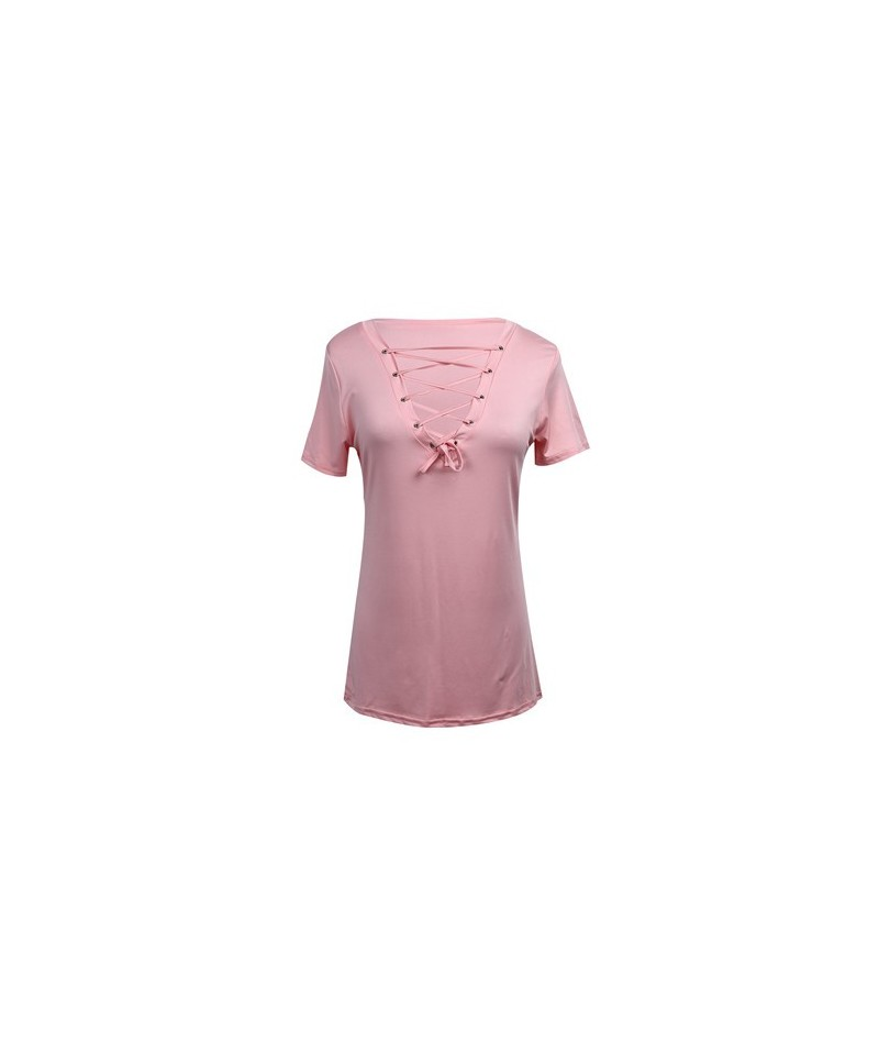 Fashion Casual Womens Pullover T-Shirt 2019 New Lady Short Sleeve Cotton Sexy Soild Tops Shirt Available Wholesale - Pink - ...