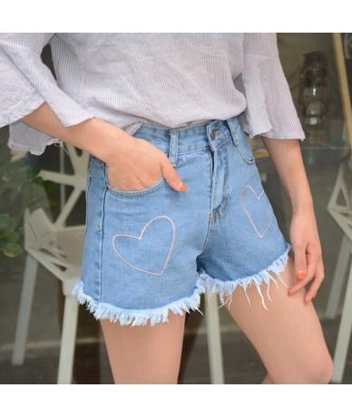 Summer New women kawaii heart embroidery ladies denim shorts female loose raw shorts jeans high waist shorts feminino - Blue...