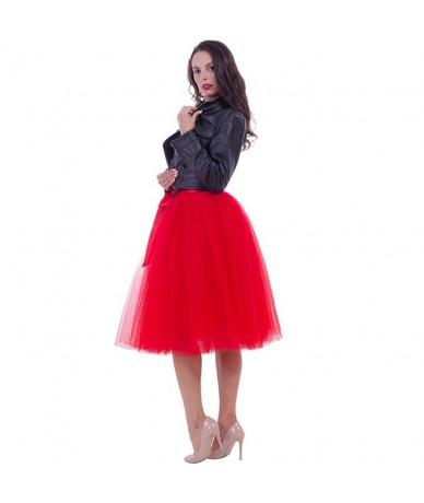 6Layers 65cm Fashion Tulle Skirt Pleated Tutu Skirts Womens Lolita Petticoat Bridesmaids Vintage Midi Skirt Jupe Saias falda...