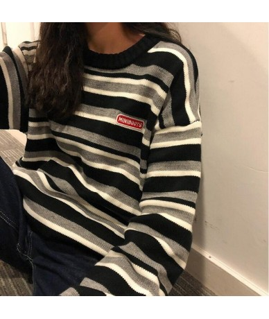 Women's Clothing Cute Kawaii Retro Lazy Ins Embroidery Letters Loose Striped Sweater Lady Harajuku Ulzzang Sweaters For Wome...