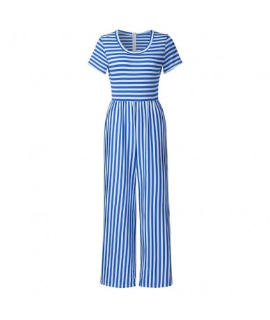 Women Jumpsuits Summer Autumn O-Neck Striped Printed Short Sleeve Loose Long Daily Casual Brief Jumpsuits Combinaison Femme ...