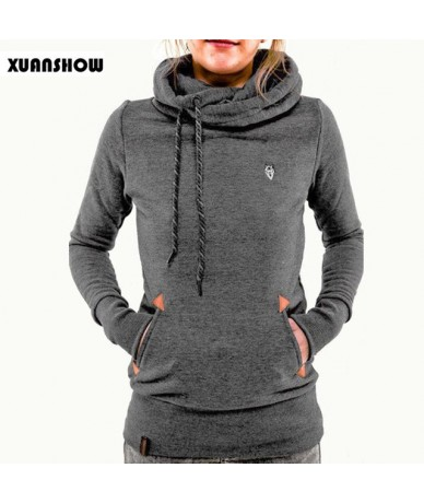 Autumn Winter Womens Fashion Fleeces Hoodies Embroidery Pocket Lady Sweatshirts Hooded Casual Tracksuit Pullover Tops - Dark...