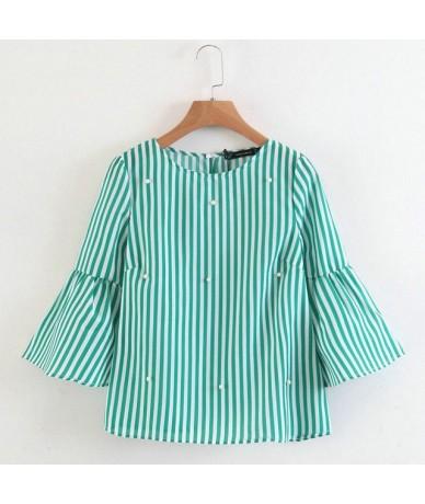 stylish pearls beading striped shirts flare sleeve cute chic three quarter sleeve blouse ladies fashion casual tops blusas -...