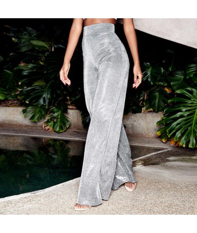 Sexy High Waist Reflective Wide Leg Pants New Shiny Pants Party Women Flare Pants Zipper Casual Silver Long Trousers Mujer -...