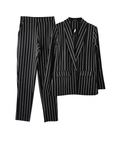 Striped Office Lady Suits Work Pant Suit for Women Buttonless Blazer Jacket & Trouser 2 Piece Set - Black - 4R3089335446