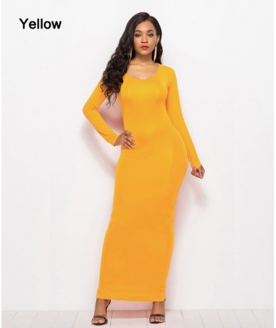 Casual Bodycon 2018 Summer Dresses Women Elegant Elastic Slim Straight Long Sleeve Maxi Dress Plus Size - RL1113-Yellow - 4T...