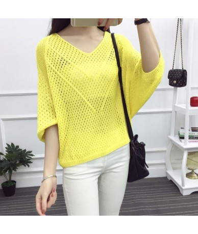 Fashion Sweater Jumper Girls Red White Summer Thin Hollow Batwing Sleeve Sweater Women Loose Pullover Mesh Cover Shirt - Yel...