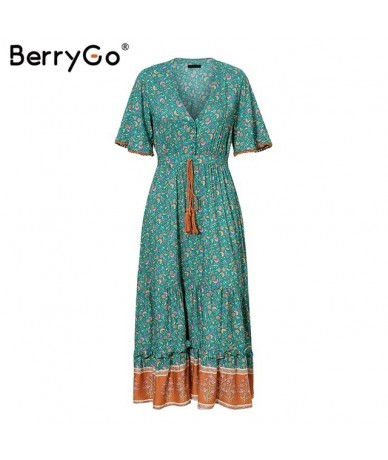 women dresses Bohemian dresses print summer dress Short sleeve ruffled long maxi dress v-neck drawstring ladies vestidos - G...