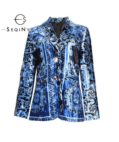 Velvet Jacket 2020 Autumn Winter Women Fashion Design Long Sleeve Vintage Printed Short Blazer Blue - 4O4168874280
