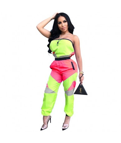 Color Block Patchwork Slash Neck Woman jumpsuit Sleeveless Strapless Long Pants Overalls Night Club Female Streetwear Outfit...