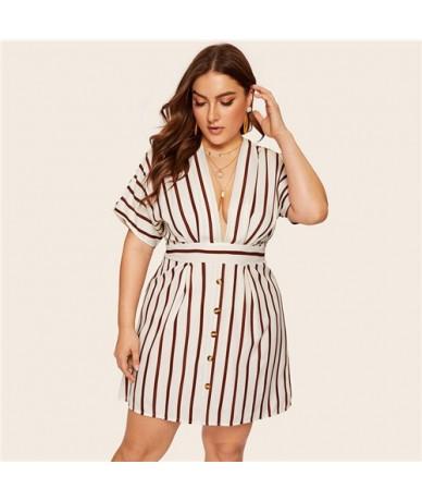 Plus Size Beige Deep V-Neck Striped Dress Women 2019 Summer Boho Short Sleeve A Line Office Ladies Fit And Flare Dress - Bei...