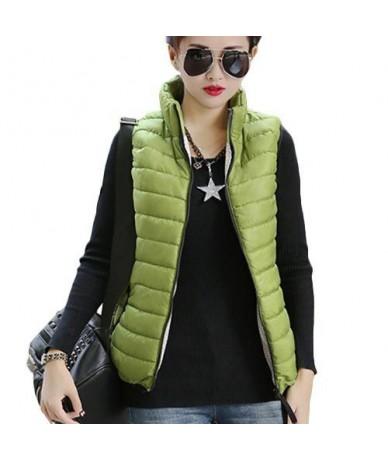Plus Size Women Sleeveless Jacket Winter 2018 Korean Cotton Regular Paragraph Slim Coat - Green - 4B3575637669-3