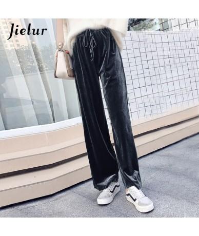 2019 Autumn Drawstring Pants Women Korean Harajuku Winter Solid Color Baggy Wide Leg sweatpants Velvet Trousers XS-XXL - Gra...