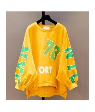 Pretty Style Student Girl's Letter Print Hoodies Large Size Loose O-Neck Long Sweatshirts Street Wear Irregular Long Pullove...