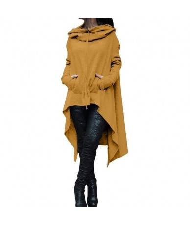 Women Lady Top Sweatshirt Hoodie Solid Color Long Sleeve Irregular For Autumn Winter BMF88 - Yellow - 424157682550-4