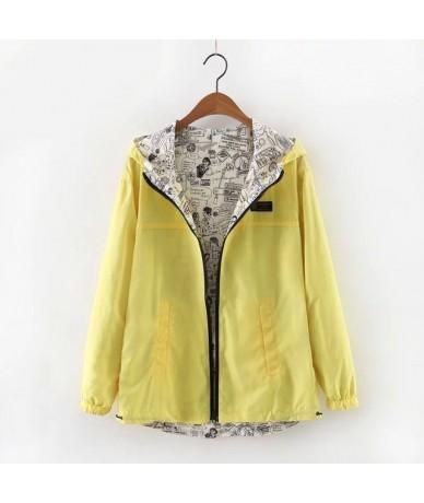 2019 Spring Autumn Women Basic Jacket Coat Two Side Wear Cartoon Print Pocket Zipper Hooded Jackert Windbreaker Outwear Fema...
