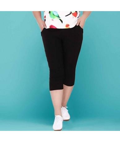 2019 Summer Plus Size 2XL-6XL Women Capris Pants High Waist Elastic Women Casual Pencil Pants Cotton trousers Skinny Pants -...