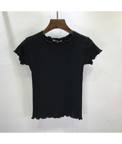 Women Tees Ruffled Trimmings Ribbed Crop Tops Soft And Stretchy Short Sleeve T-shirts Basic Cropped Top - black - 4G30335655...