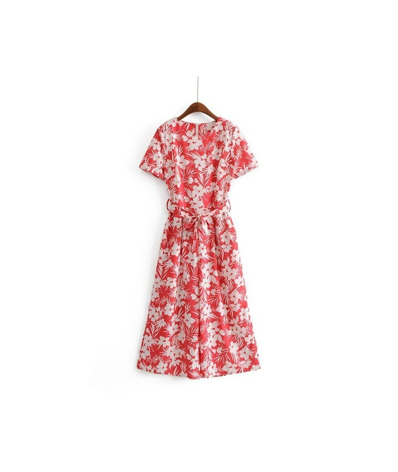 summer flower print red jumpsuit romper women sexy o neck overalls holiday new arrival jumpsuits female 3Y04 - Red - 4530786...