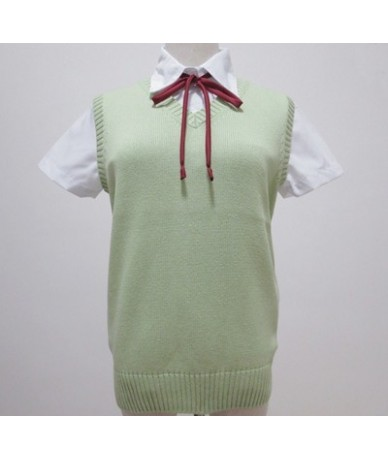 Japanese Kawaii High school uniform sweater cute Cosplay Sleeveless sweater Vest Solid V-neck Knitting clothes COS K-ON XS-X...