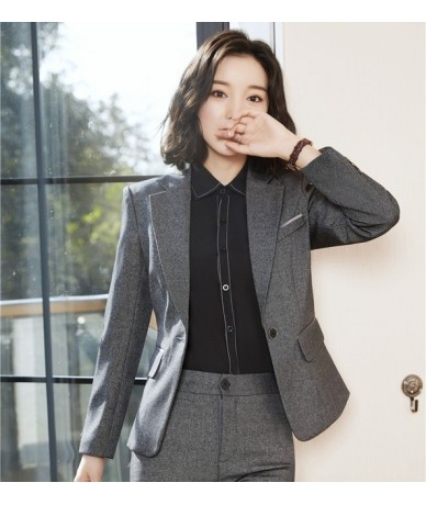 New 2019 Formal Women Blazers and Jackets Long Sleeve Navy Blue Office Ladies Work Wear Clothes OL Style - Dark Grey - 4Z413...