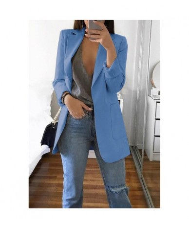 Autumn Womens Jackets And Coats Red Pockets Notched Sexy Plus Size Ladies Blazer Fashion Long Sleeve Oversize Outwear Mujer ...