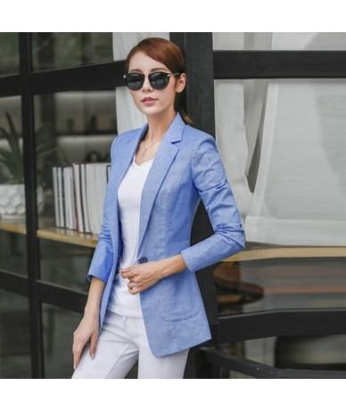 Small Women Suit 2019 Women Blazers And Jackets Spring Autumn Linen Blazer Feminino Single Button Ladies Jacket CJ006 - ligh...
