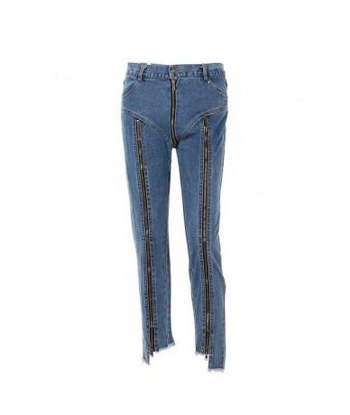Fashion Jeans With Zipper Back Bottom Irregular Design Slim Streetwear Blue Jeans Cotton Stretch Jeans Cowboy Pants Woman - ...