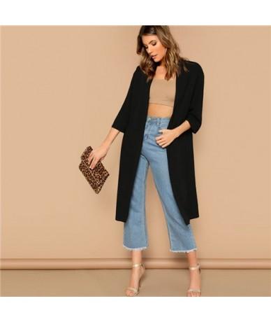 Black Open Front Split Back Plain Solid Longline Kimono Cardigan Women Three Quarter Length Sleeve Summer Kimono Tops - Blac...