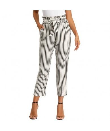 Women office pants Striped Elastic Waist Belt Decorated vintage slim elegant belt business work Cropped Pants Boot Cut Capri...