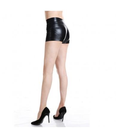 Plus Size Adult Silver Metallic Shorts Rave Booty Shorts Mid Waist Cheer Shorts PU Shiny Dance Woman Shorts Sexy - Black - 4...