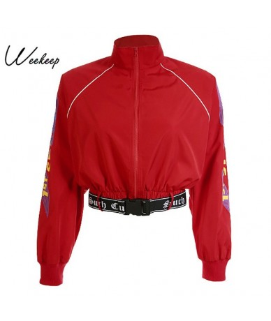 Women Loose Streetwear Jacket Fashion Cropped Adjustable Waist Jackets Red Long Sleeve Stand Collar Casaco Feminino Tops - R...