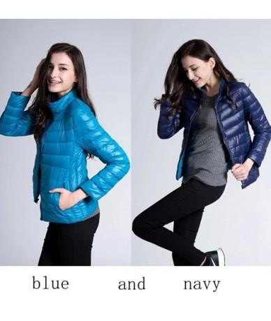 Down Jacket Women Ultra Light Down Jacket Women Feather Double Side Windbreaker Reversible Lightweight Coat Parks - blue and...