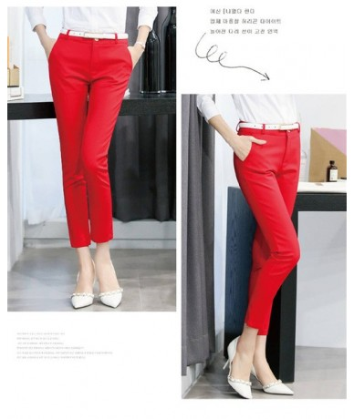 QBK DPU brands Business attire red High-quality casual office wear pencil pants and leggings women of trousers women harem p...