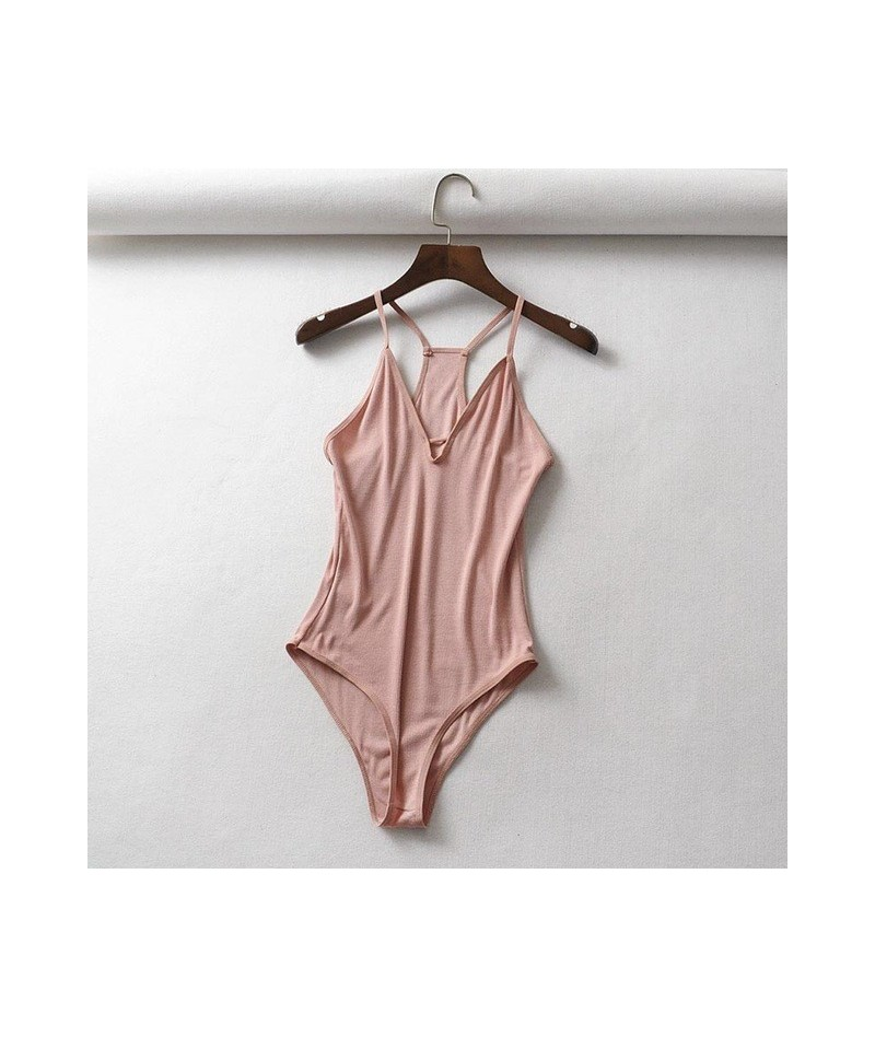 2019 women knitted solid bodysuits sexy hollow out sleeveless tops party club camisole - Pink - 4H3077835150-3