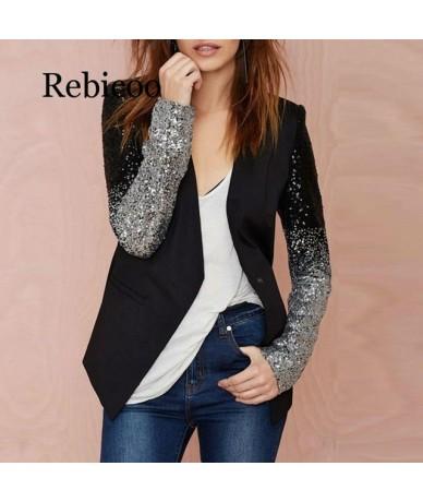 2019 Women Thin Jacket Coat Long Sleeve Lapel Coat Patchwork Bling Silver Black Sequin Elegant Work Blazers Suit feminino - ...