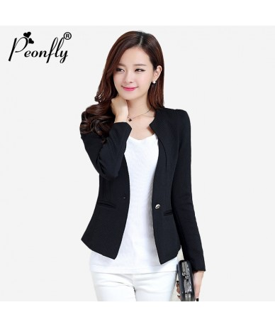 Spring Autumn Winter Women Slim Blazer Coat Plus Size3XL Casual Jacket Long Sleeve One Button Suit Lady Blazers Work Wear - ...