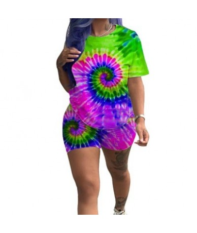 2019 hot selling Summer Print Set Connector Trend Print Short Sleeve Shorts two suit for lady - Multi - 4K4132103242-1