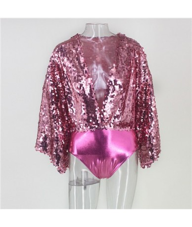 Deep V Neck Sexy Sequins Bodysuit Women Glitter Party Body Top Combishorts Femme Batwing Sleeve Summer Body Overalls For Wom...