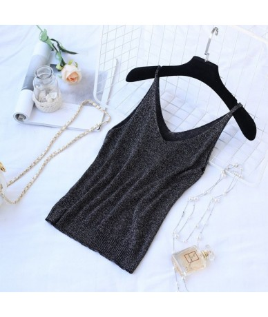 Crop Tops 2019 Summer New Solid Stitching V-neck Camis Female Knitted Short Section Slim Outer Wear Shirt Trend Tank Tops - ...