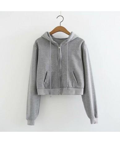 Women Crop Short Sweatshirt Long Sleeve Cropped Hooded Hoodie Drawstring Female Zip Up Pockets Autumn Winter Hoodie C6637 - ...