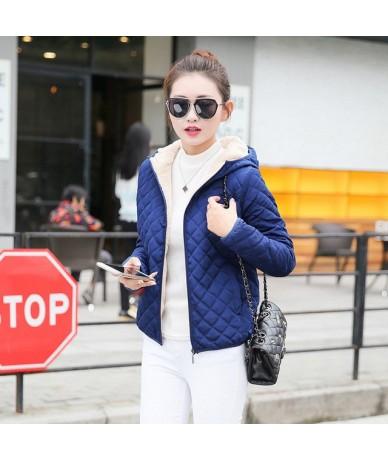 S-2XL Autumn Winter Women Parkas European Fashion Plaid Hooded Jacket Casual Loose Long Sleeve Cotton Padded Coat 66774 - 66...