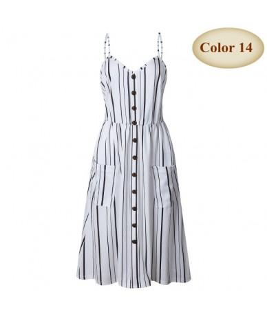 New Boho Off-shoulder Party Beach Sundress Spaghetti Long Dresses Plus Size Summer Women Button Decorated Print Dress CRRIFL...